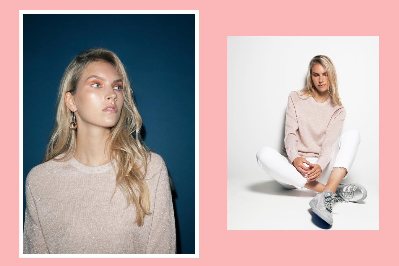 Equipment Sloane crew jumper, Frame Le Garçon white jeans, Woman by Common Projects silver Achilles low sneaker