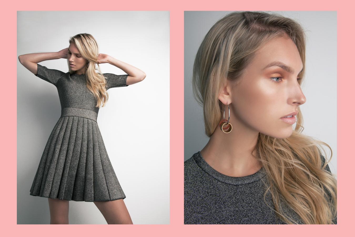 A.L.C Susanna A-line dress, Double Disco earrings