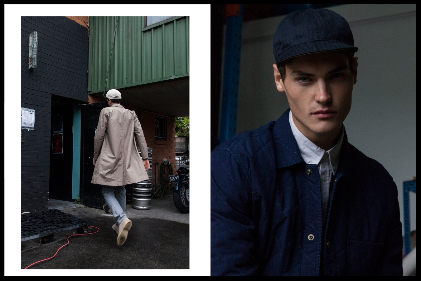 Left: Stutterheim mac, APC jeans, Clarks boots, stylist's own hat, Right: APC jacket, Fillipa K shirt, Troy O'Shea hat