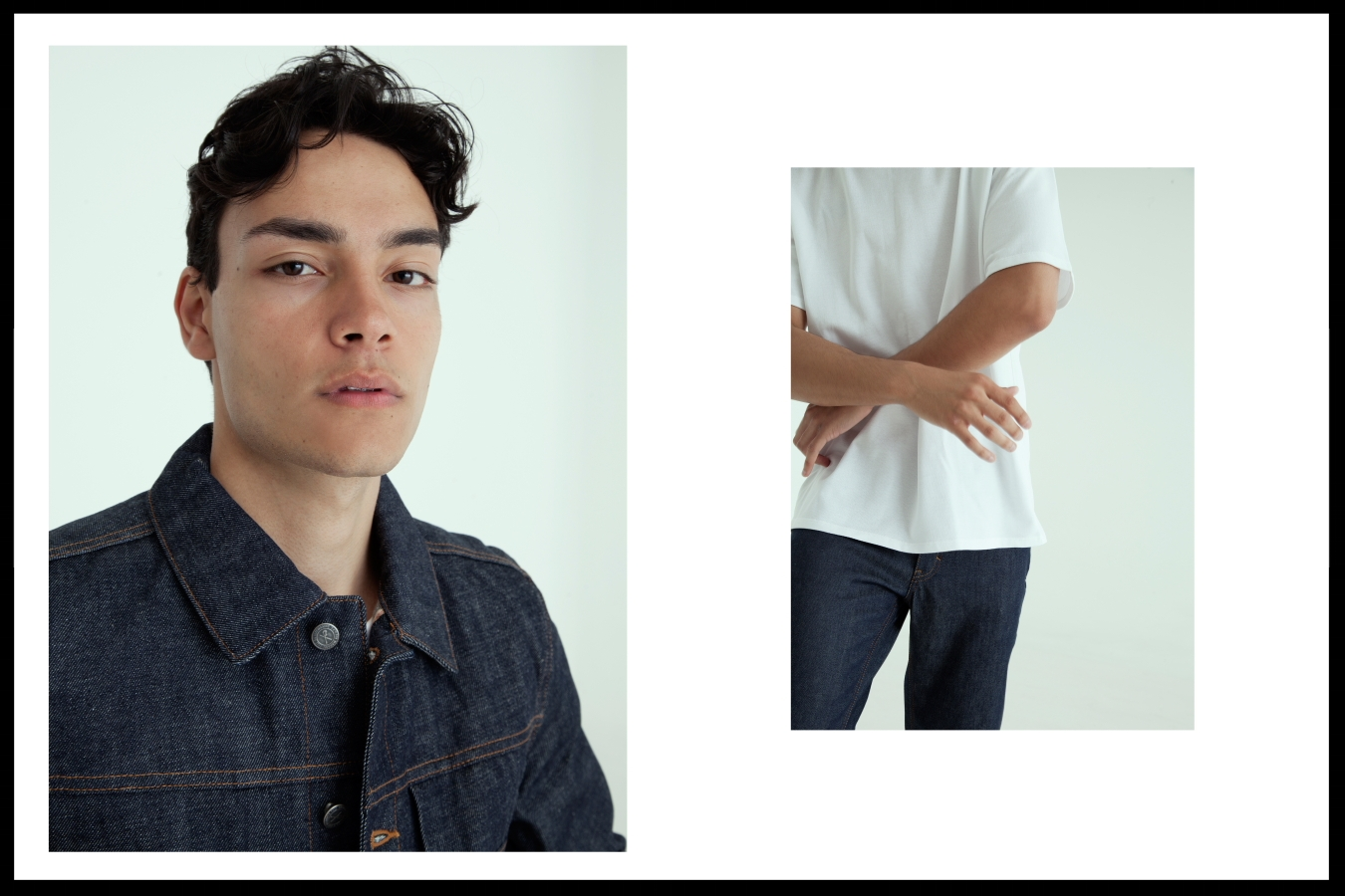 Left: Acne Studios Denim  jacket - Right: Acne Studios jeans,  Acne Studios Tee