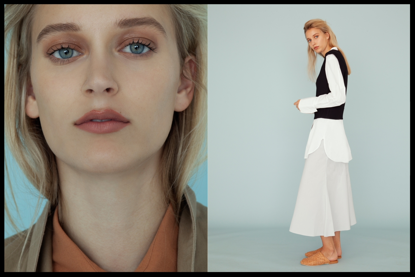Left: Bassike coat & pants, Dress Up shirt - Right:  Bassike cropped shell top, Bassike shirt, Bassike skirt, St Agni Woven Loafers