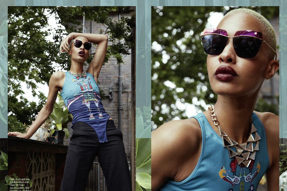 Mary Katrantzou x Adidas bodysuit,, Marc by Marc Jacobs pants,, Dior sunglasses