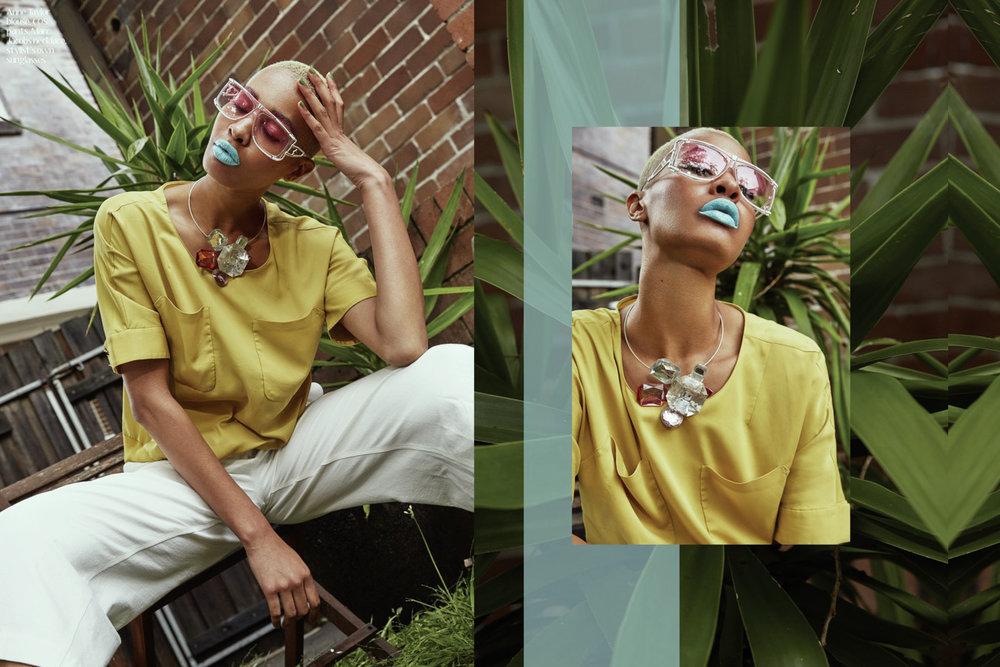 Anne Taylor blouse, COS pants,, Marc Jacobs necklace