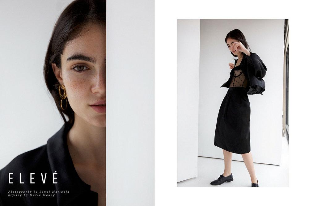 Earring :Natasha Schweitzer, Jacket stylists own, Skirt Yves Saint Laurent