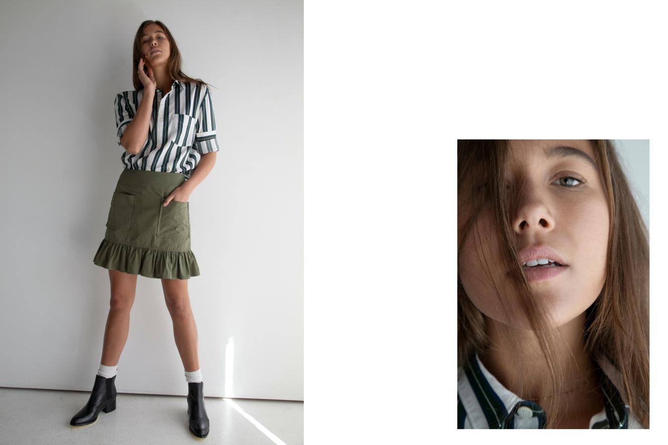 Shirt A.P.C., Skirt Matin, Boots Rag and Bone