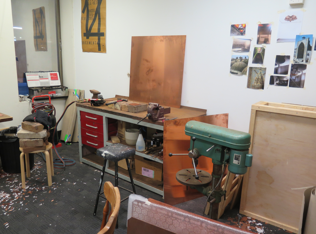 Shireen Taweel in her studio at Parramatta Artists Studio, 2018. Courtesy Parramatta Artists Studios. Photo: Jacquie Manning