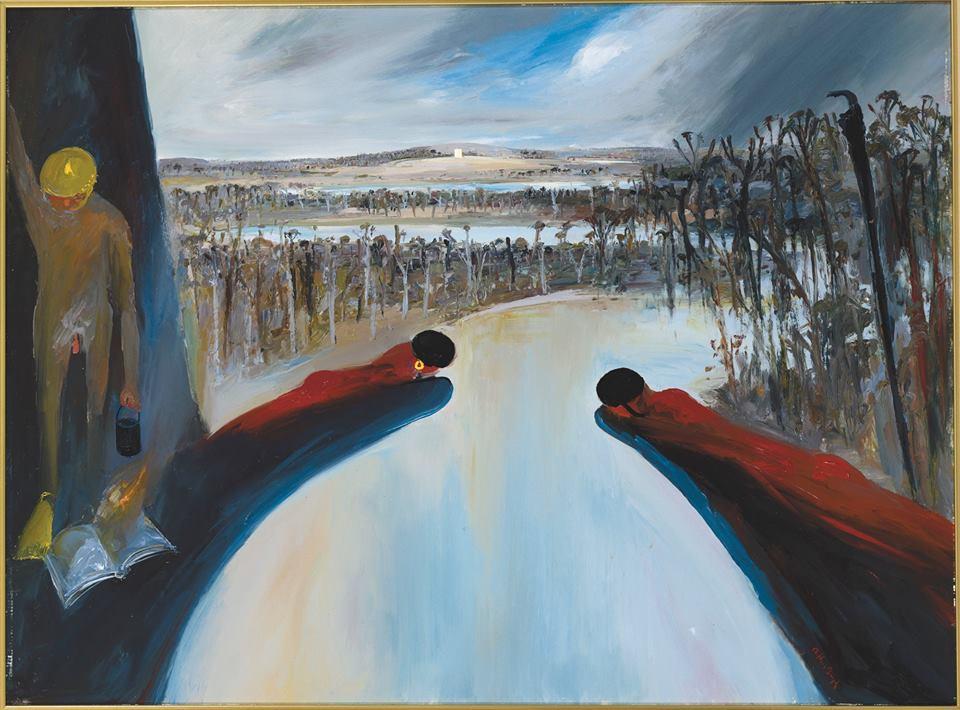 Arthur Boyd, Hanging rocks bathers and Mars (1985), oil on canvas. Courtesy- Bundanon Trust Collection