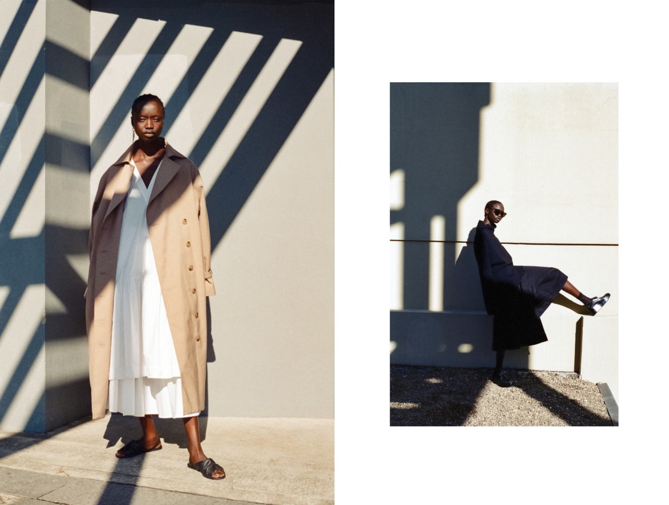Left: Lee Mathews dress, Stylist's own skirt, Toteme trench coat, Cos sandals, Stylist's own earrings // Right: cos jumper, Jil Sander shoes, Bassike culottes, Le Specs sunglasses