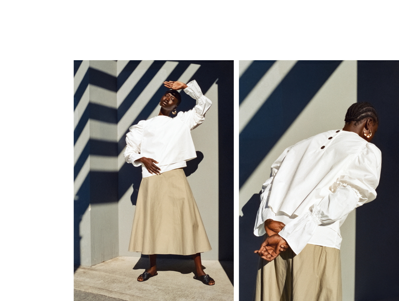 Toteme long sleeve top, Stylist's own top, Stylist's own skirt, Cos sandals, Stylist's own earrings