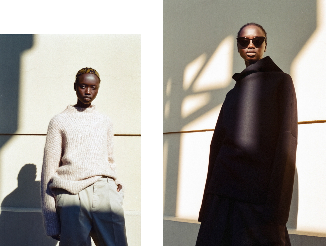 Left: Nique jumper, Stylist's own pants, Stylists own earrings // Right: cos jumper, Bassike culottes, Le Specs sunglasses