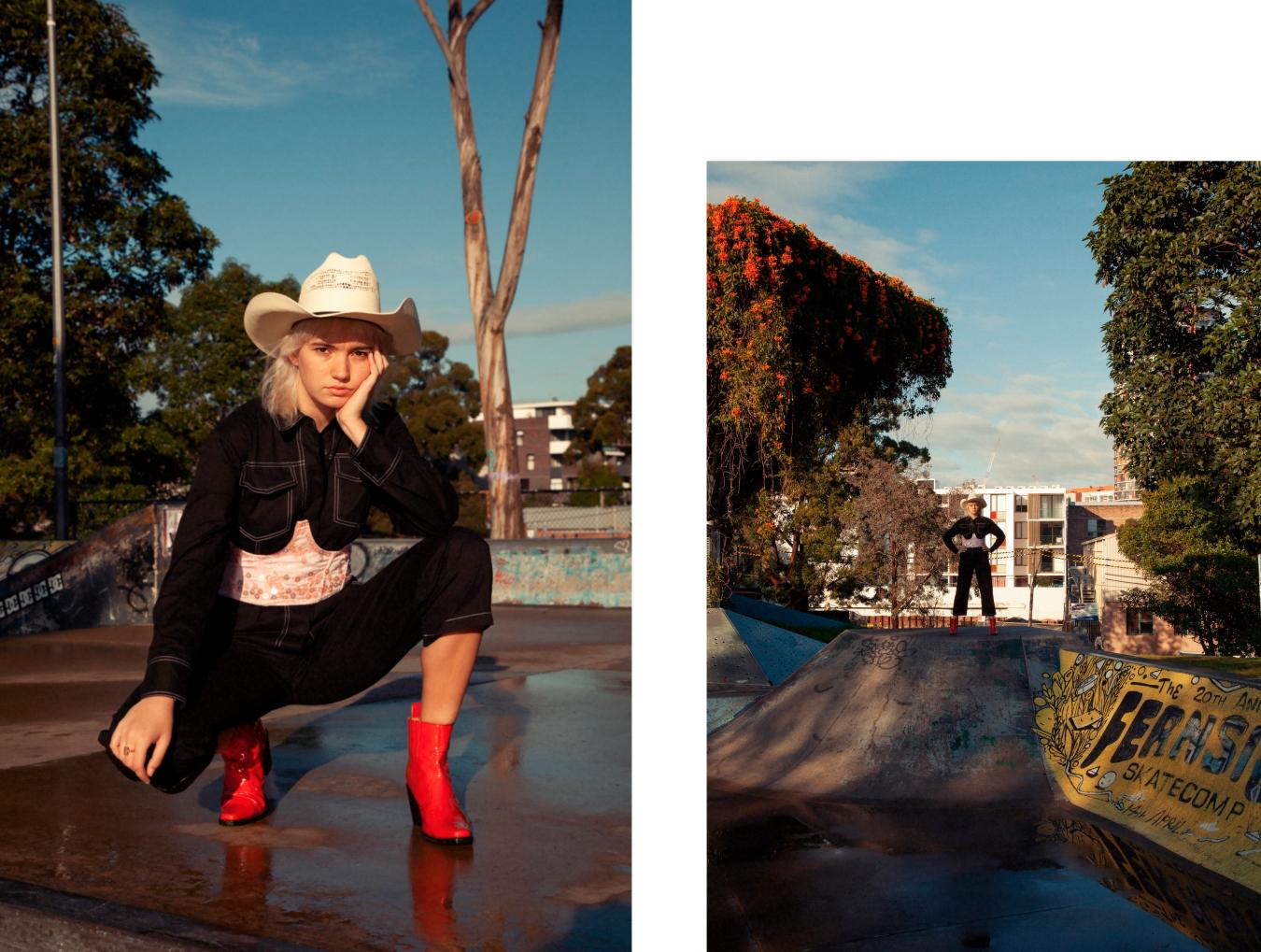Boiler Suit Dazie, Boots Model's Own Ganni Boots, Corset Dyspnea, Hat Route 66