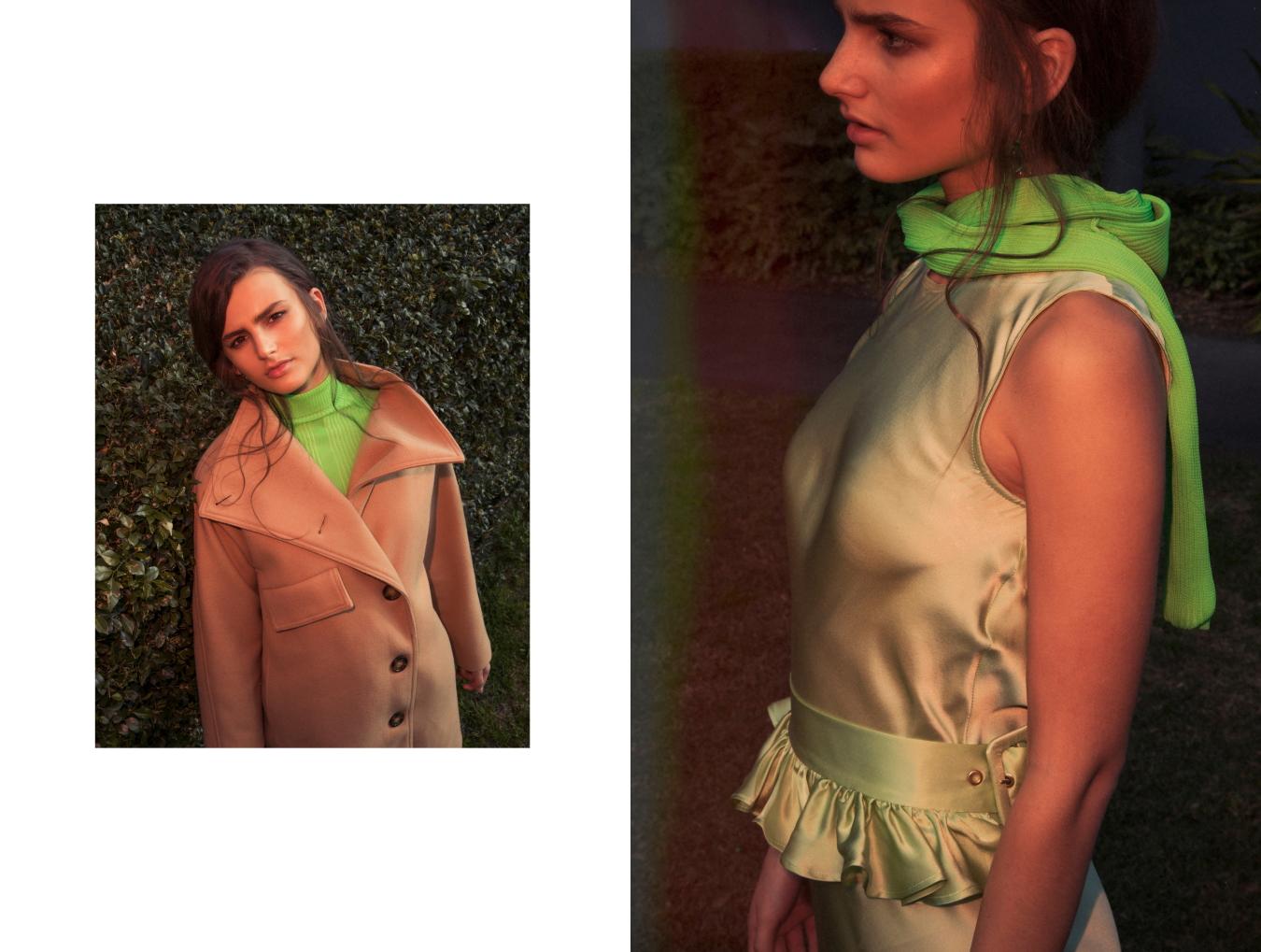 Left: Acne studios coat, Acne Studios Top , Acne Studios pants / Right: Maggie Marilyn dress