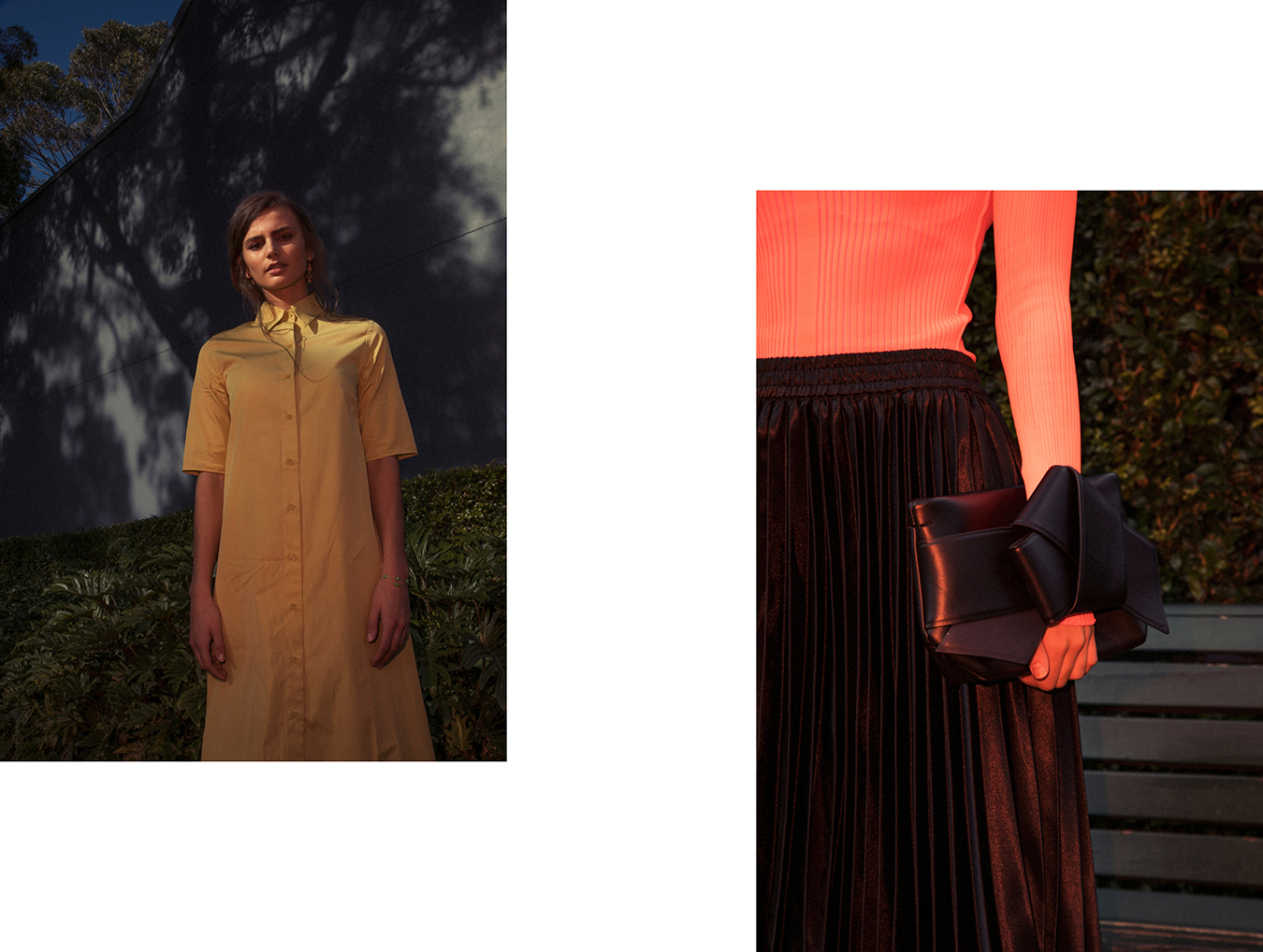 Left: Jac + Jack dress / Right: Acne clutch bag
