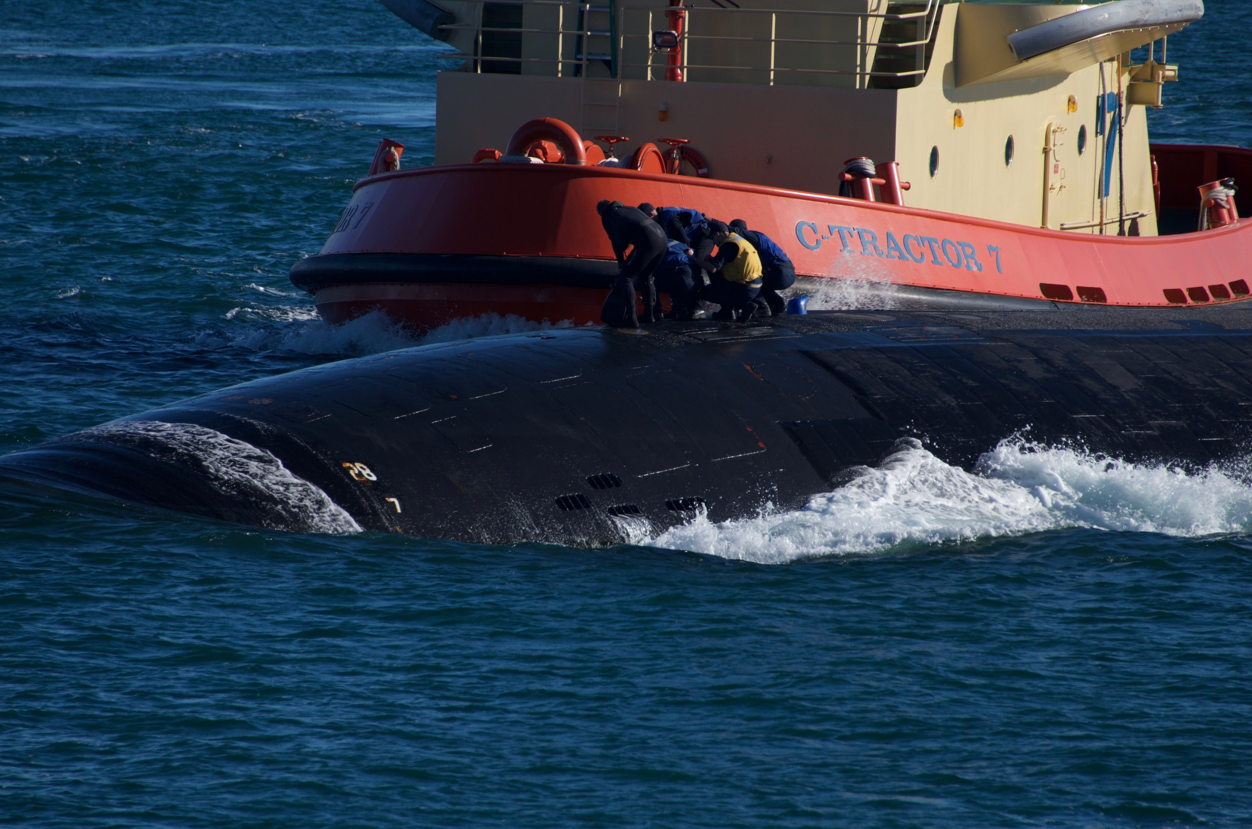 Its so cool to see the sailors on the outside of a moving  submarine