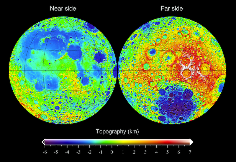Topography data from the Lunar Reconnaissance Orbiter (LRO). Figure by Mark A. Wieczorek.