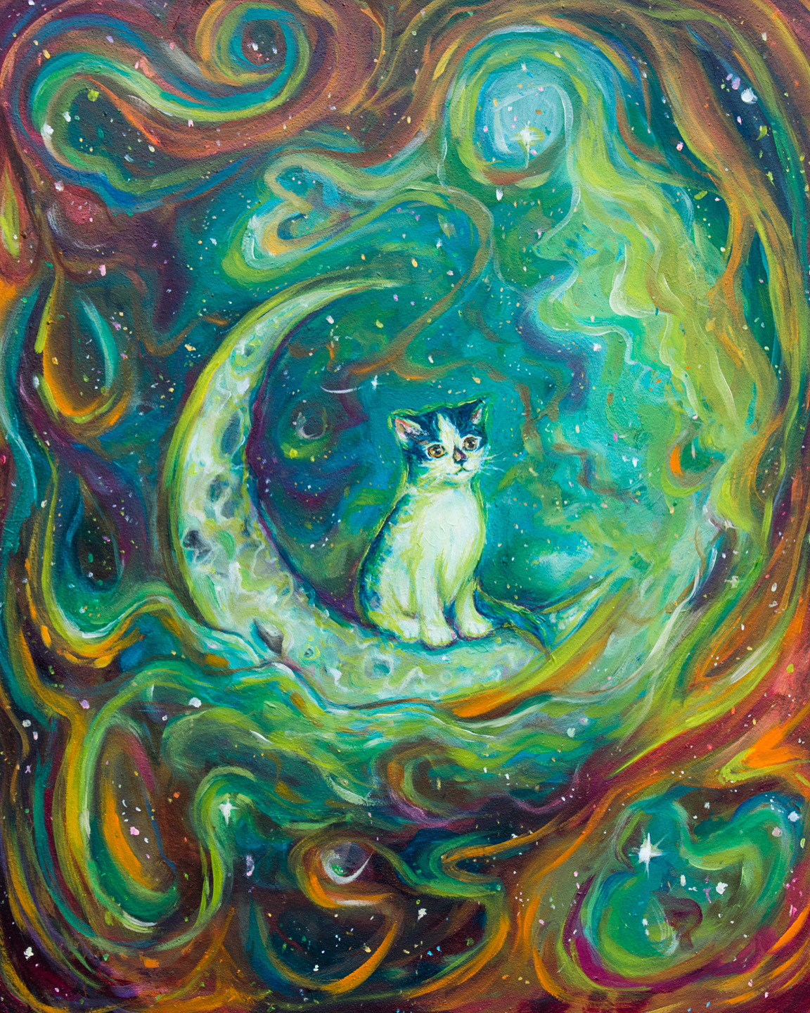"""KITTEN'S COSMOS"" 2017 - OIL ON WOOD PANEL"