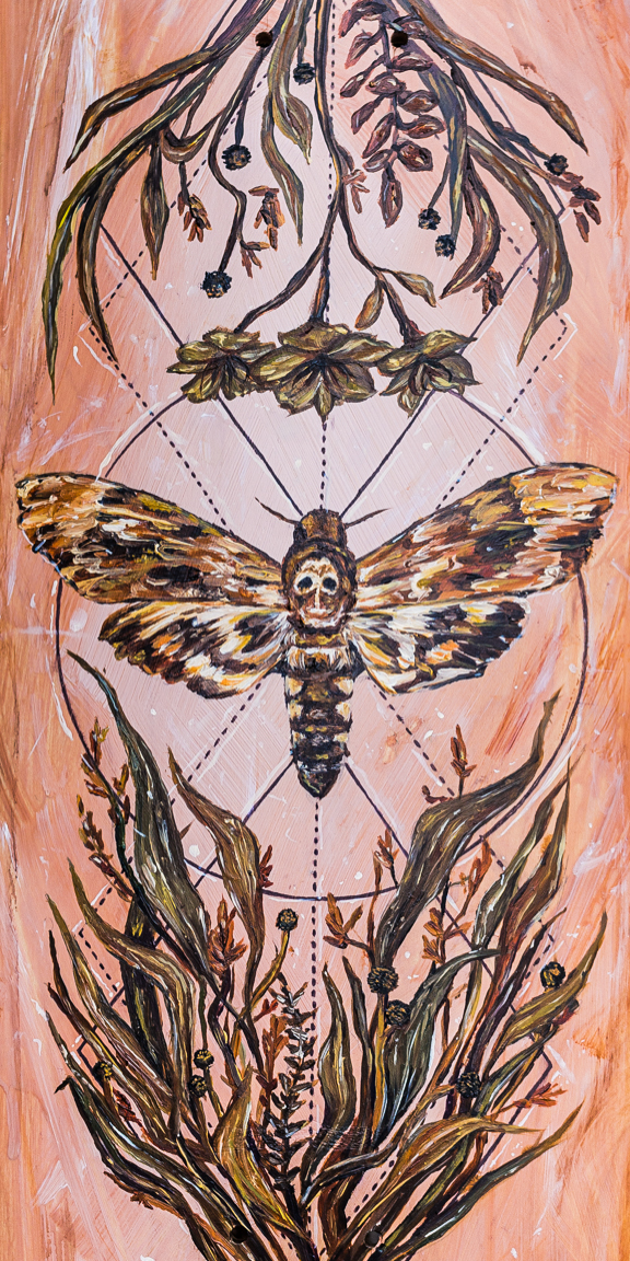 """DEATH MOTH"" 2017 - ACRYLIC, OIL & INK ON WOODEN SKATEBOARD DECK"