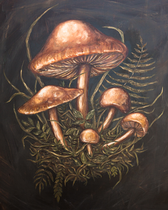 """WILD MUSHROOMS"" 2018 - OIL ON WOOD PANEL"