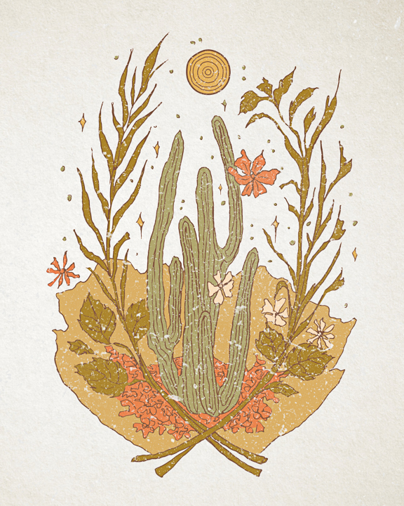 """""""CACTUS DAY"""" 2017 - INK ON PAPER, DIGITALLY COLORED"""
