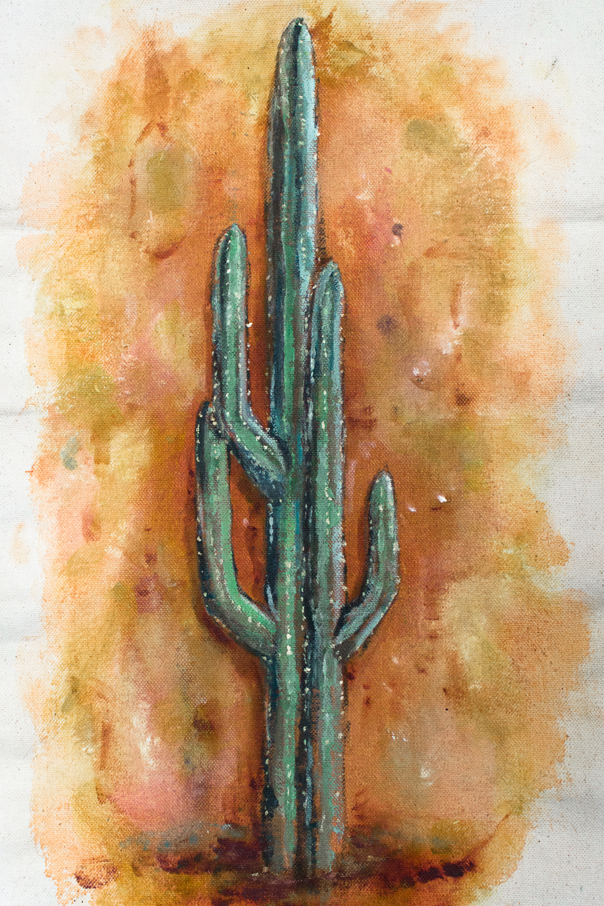 """CACTUS"" 2018 - OIL ON RAW UNSTRETCHED CANVAS"
