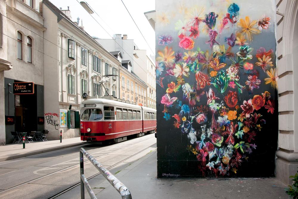 MAGNUS SODAMIN  rotating wall on Siebensterngasse, Vienna Support  Perfekt World & Quartier21