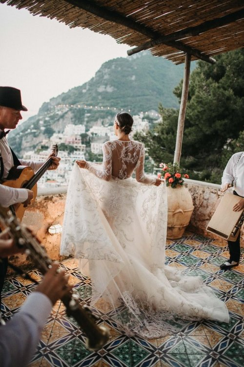HR Real Bride Tiarne's cliff top wedding in Positano in her Inbal Dror gown
