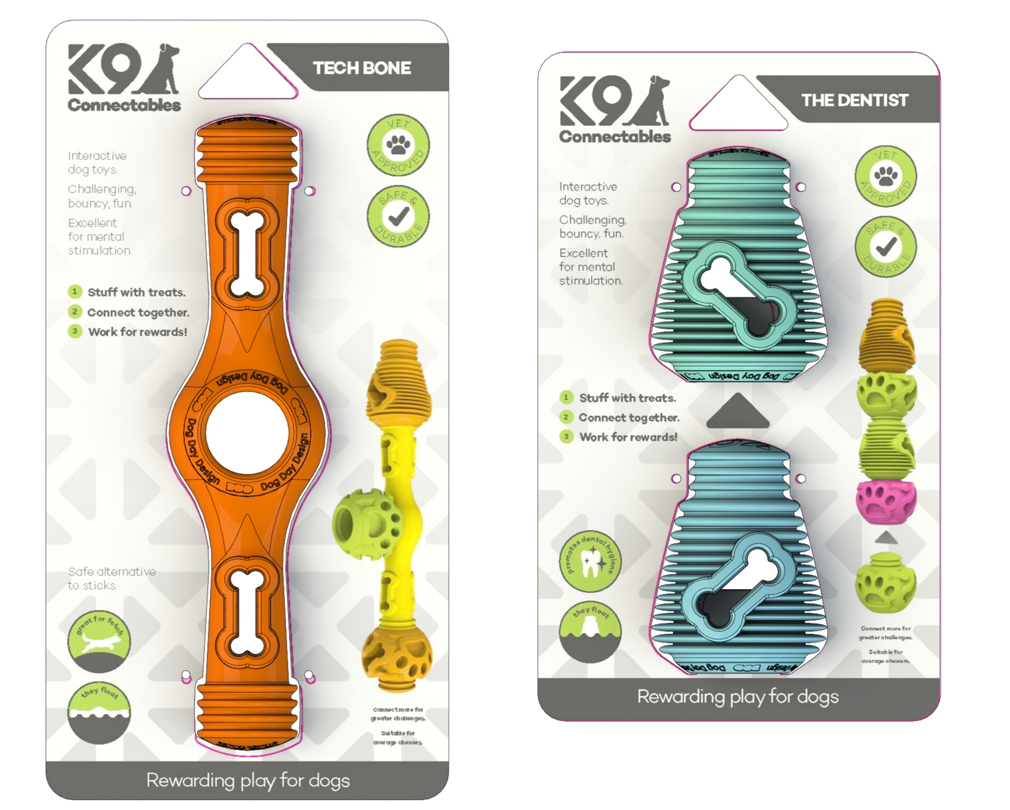 K9CONNECTABLES   An exciting new range of interconnectable dog toys that can be stuffed with your dogs favourite treats encouraging them to work for their rewards and resulting in longer play times.