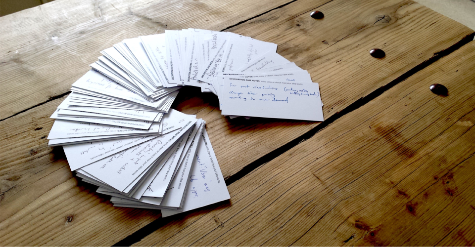A collection of ideas captured on cards during ideation