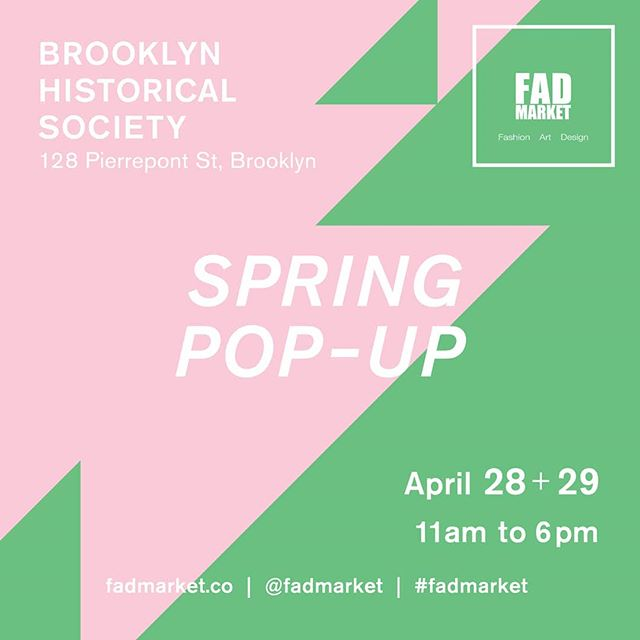 We are honored and excited to he part of @fadmarket at the #Brooklyn Historical Society this weekend!  FAD stands for #Fashion #Art #Design and they always do a fantastic job of curating an interesting scene!  I look forward to seeing all your shining faces this weekend!!