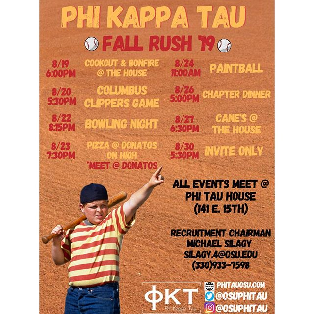 The time has come and the schedule is out: OSU Fall Rush 2019  The Best go Greek and the Best Greeks go Phi Tau.  #FallRush2019 #OhioState #PhiKappaTau