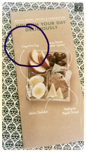 Pictured: the brochure that was thrust into my hands. It does not contain any information about Starbucks' egg sourcing, nor is this information easily available anywhere on the company's website. Starbucks is certainly not alone in this regard.