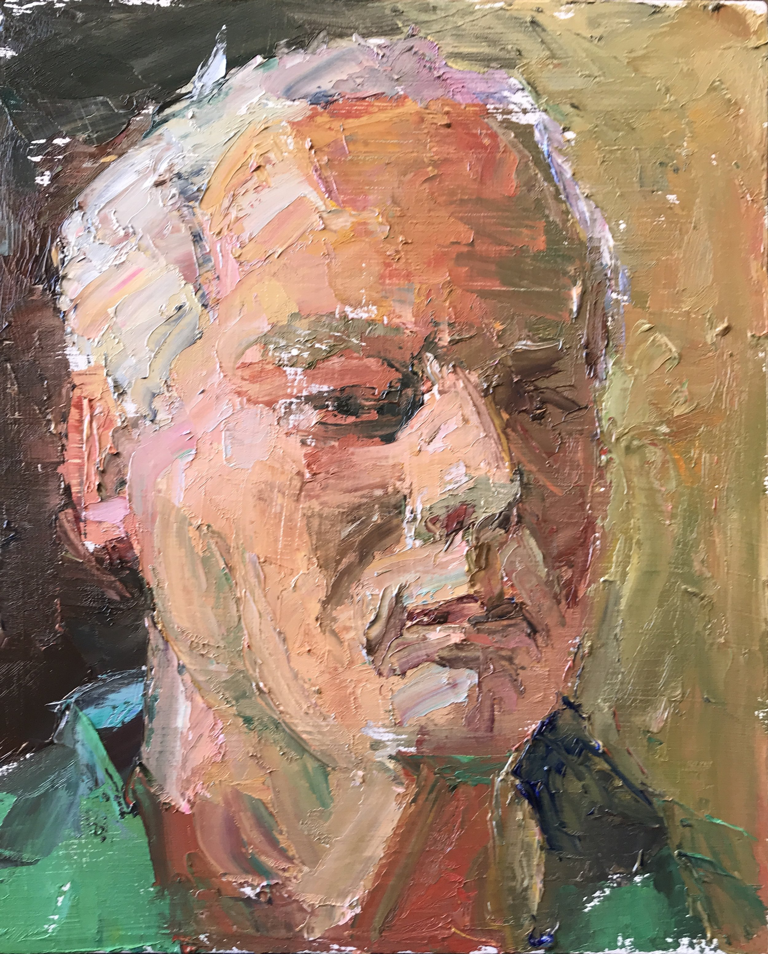 Self Portrait at 65, 11 x 9 inches, oil on panel, 2019