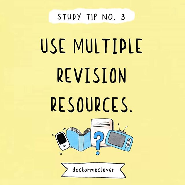 """📚💬What are your favourite revision resources? Please comment below. ❓  Study tip no. 3: Use multiple revision resources. 📺📚 📱⌨️ We're so lucky to have so many resources at our fingertips these days. Gone are the days where you had to revise from a textbook and that was that.  I can guarantee that the information will stick better if you use multiple resources to revise the same topic. Maybe you could read the textbook first, use my doodle notes or revision guide to picture the content and then watch a quick youtube video to """"see it"""" in a different way. Of course, then you can test yourself with not only past exam papers but with quiz apps and flashcards. I often get asked how to revise but I think only you know what works best for you and it comes from trial and error. I'd definitely try to use at least 2 revision resources, there's something to be said for hearing/reading/seeing the same information presented in different ways. I know it helped me! ---------------------------------- Paperback book: https://www.amazon.co.uk/shop/doctormeclever  eBooks, stickers and more: www.doctormelever.com Youtube: www.youtube.com/doctormeclever  #DoctorMeClever ---------------------------------- #GCSE#GCSEs#GCSEBiology#GCSE2020#GCSEs2020#GCSEs2021#GCSEexams#Biologyteacher#Biologystudent#GCSEscience#biologyfacts#revision#studying#exams#scienceisawesome#biologyresources#biology#biologyhelp#studymotivation#studyblr#visualthinking#doodlenotes#School#Revisionnotes#biology101#studytips #studygram #revisionguide #iteachtoo"""