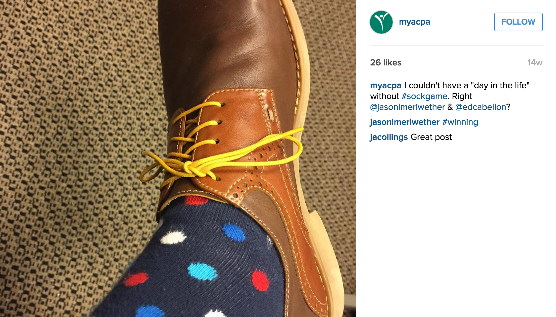 ACPA's President, Gavin Henning posting his stylish look on a day he took over their instagram account. He went with #sockgame that not only is a popular tag but also showed his personality.