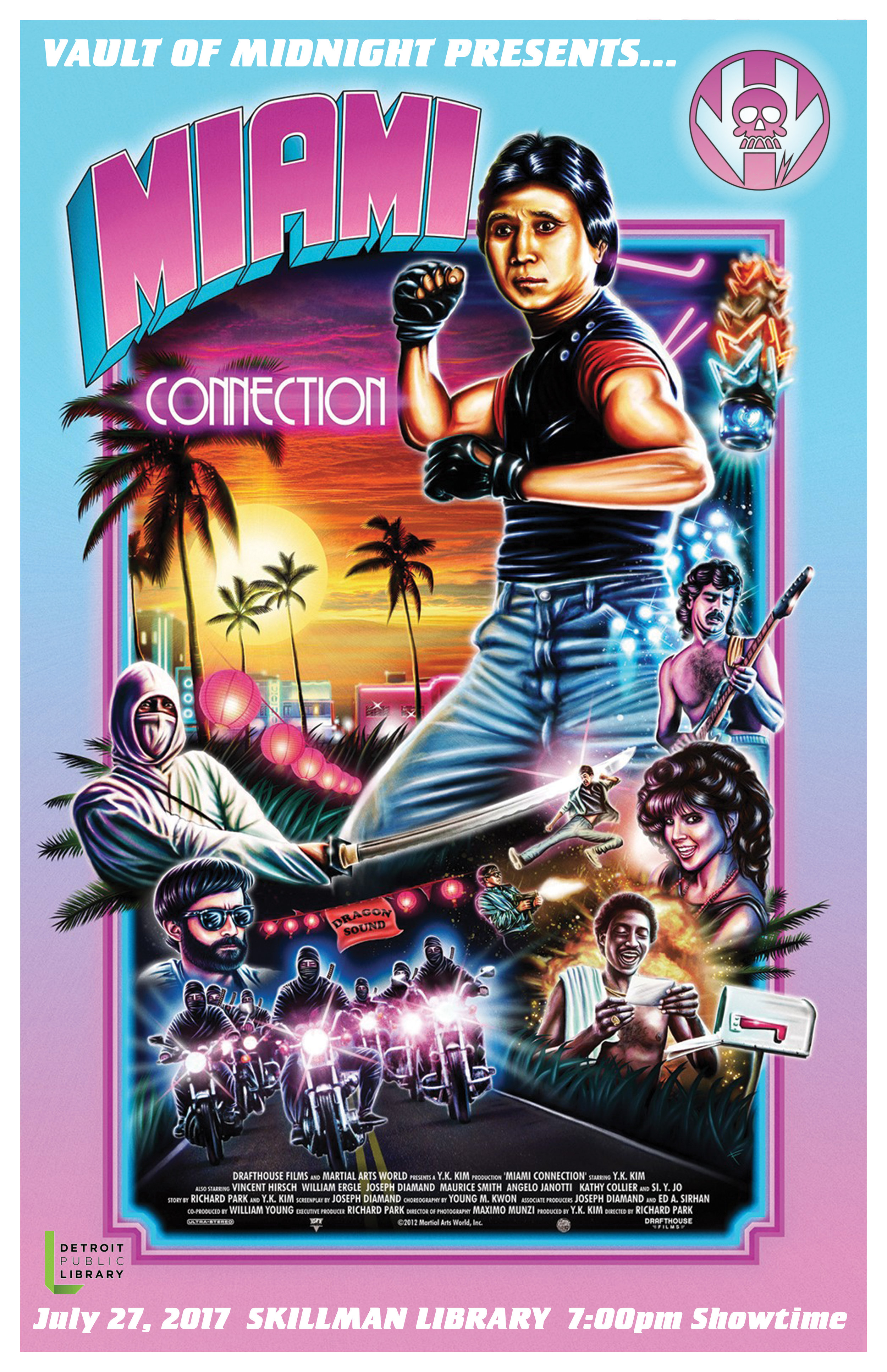 Vault of Midnight is returning to the Skillman Library on July 27 to screen one of our favorite cult films, The Miami Connection! Not only is entry free, but so is the popcorn! Come cheer on Dragon Sound, a local college band, as they fight against ninja drug dealers trying to take over their club! Showtime is at 7:00 pm!   Watch the Trailer Here!