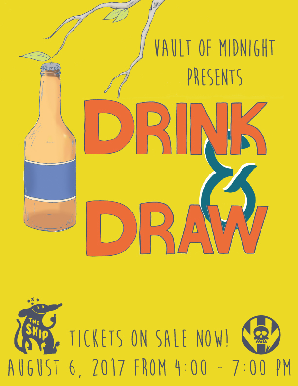 Join us for a fun filled afternoon of drinking and drawing which will be taking place at the Skip bar in the Belt alley right behind Vault of Midnight in Detroit. Bring a sketchbook and the drawing utensils of your choice. You can either draw at your leisure or rely on drawing prompts which will be provided to you! All sorts of fun drawing games, delicious beers, and cocktail drinks will be prepared to keep you entertained! It's a great way to meet other local artists! We will also be looking for entries in a future Vault of Midnight zine! Space is very limited, so buy your tickets now before they sell out!  You don't need to be Van Gough to enjoy Drink & Draw, you just gotta want to have fun!