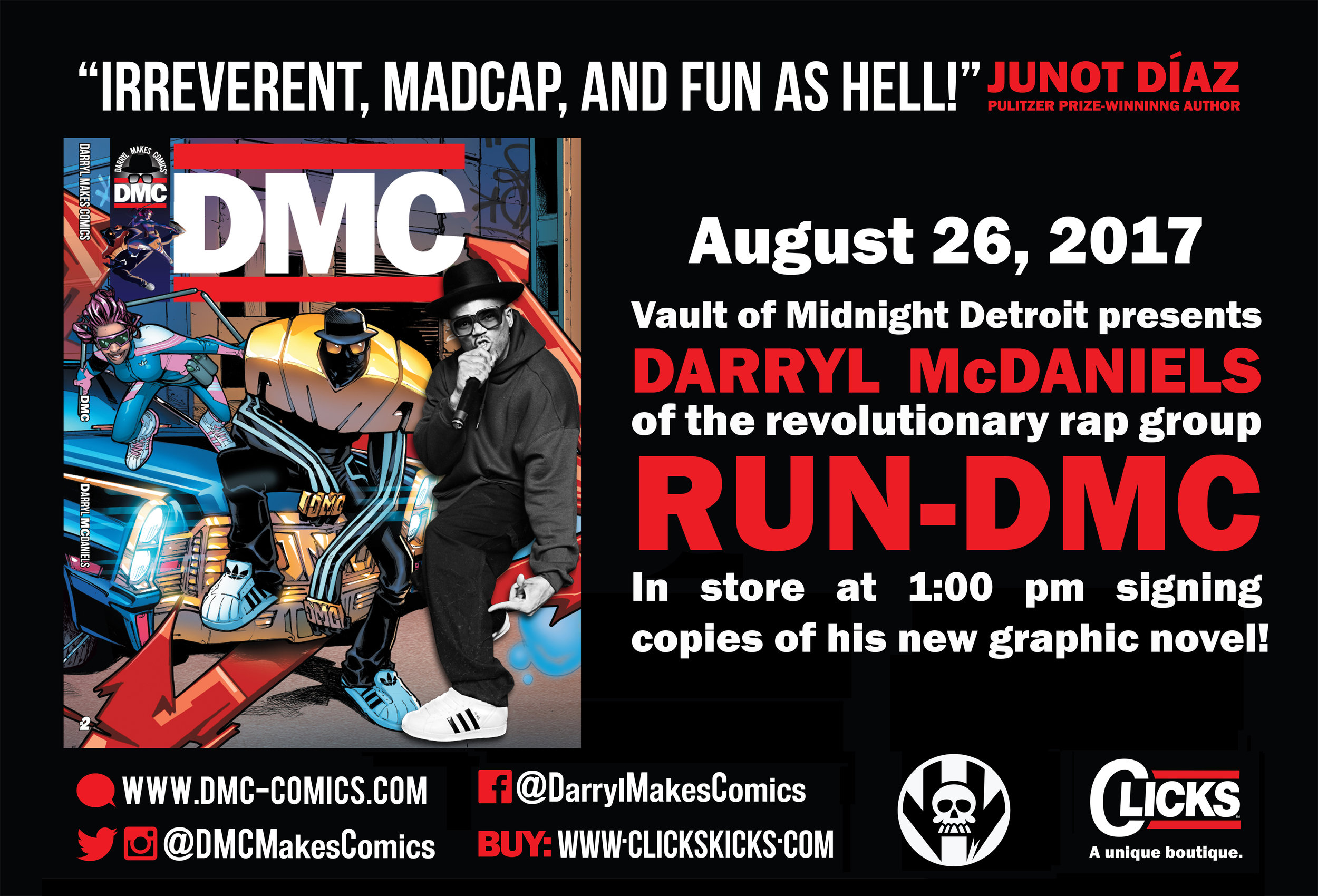 """Vault of Midnight Detroit is more than excited to host multi-platinum recording artist, hip hop pioneer, and founding member of Run-DMC, Darryl McDaniels! Saturday August 26th, Darryl McDaniels will be in-store at Vault of Midnight Detroit from 1:00 pm to 3:00 pm signing copies of his critically praised graphic novel """"DMC"""", which features art and writing from legendary creators such as Sal Buscema, Bill Sienkiewicz, David Walker, Greg Park, and more.  And man, that is not all. McDaniels himself will be judging a  break dancing competition  at the shop,the winner of which will receive two tickets to see Run DMC perform live at Chene Park on August 27th!  This is an opportunity you will not want to miss. Show up early and don't miss this chance to meet genuine hip-hop royalty at Vault of Midnight!"""