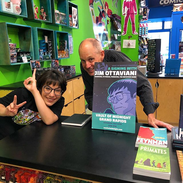 Hangin' with Jim!  The incredible science graphic novel writer Jim Ottaviani will be signing and spitballin' with us at the shop until 3pm. You're gonna want to meet this rad human being. ————————————————— #jimottaviani #sciencecomics #feynman #vaultgr