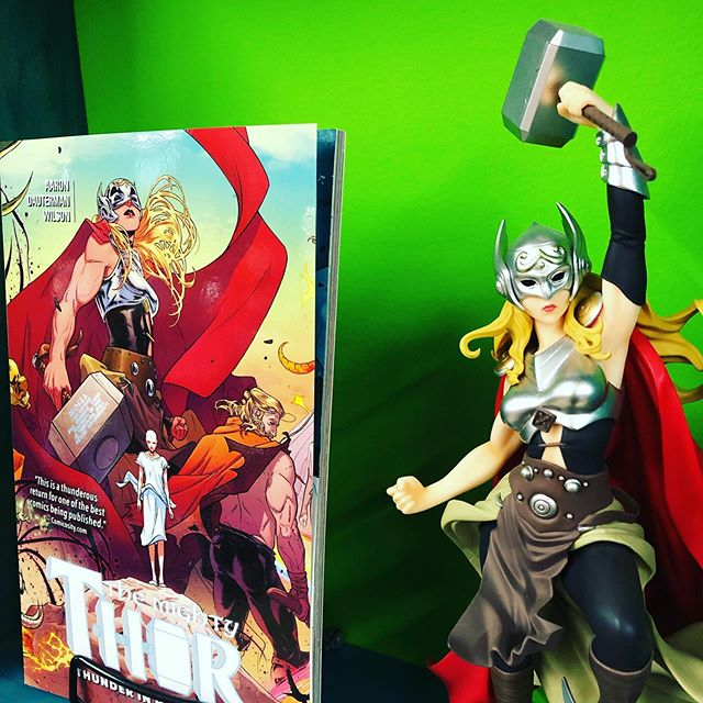 """Whosoever holds this hammer, if she be worthy, shall possess the power of Thor."" ————————————————— #mightythor #janefoster #mjolnir"