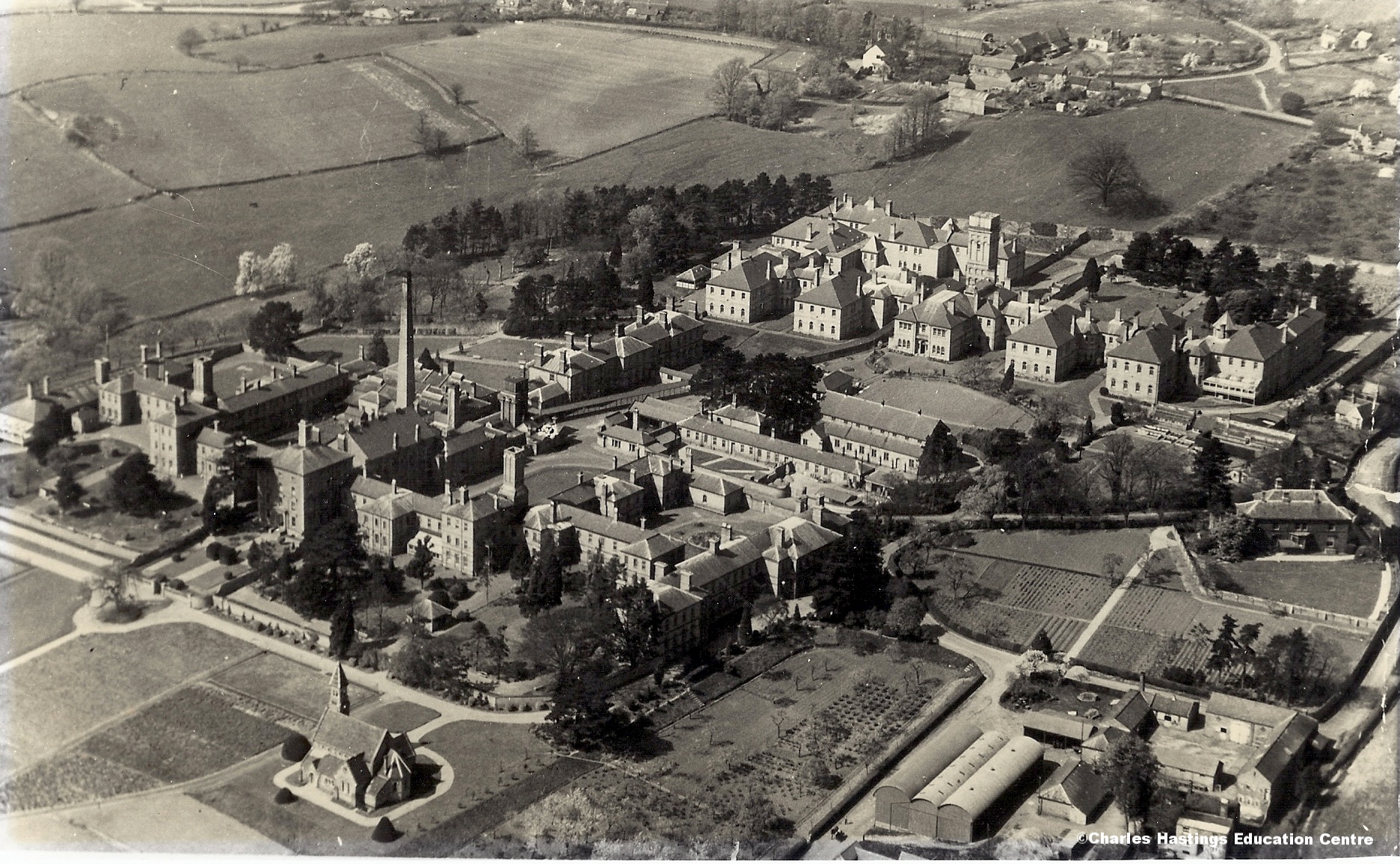 Powick Hospital from the air, ©Charles Hastings Education Centre