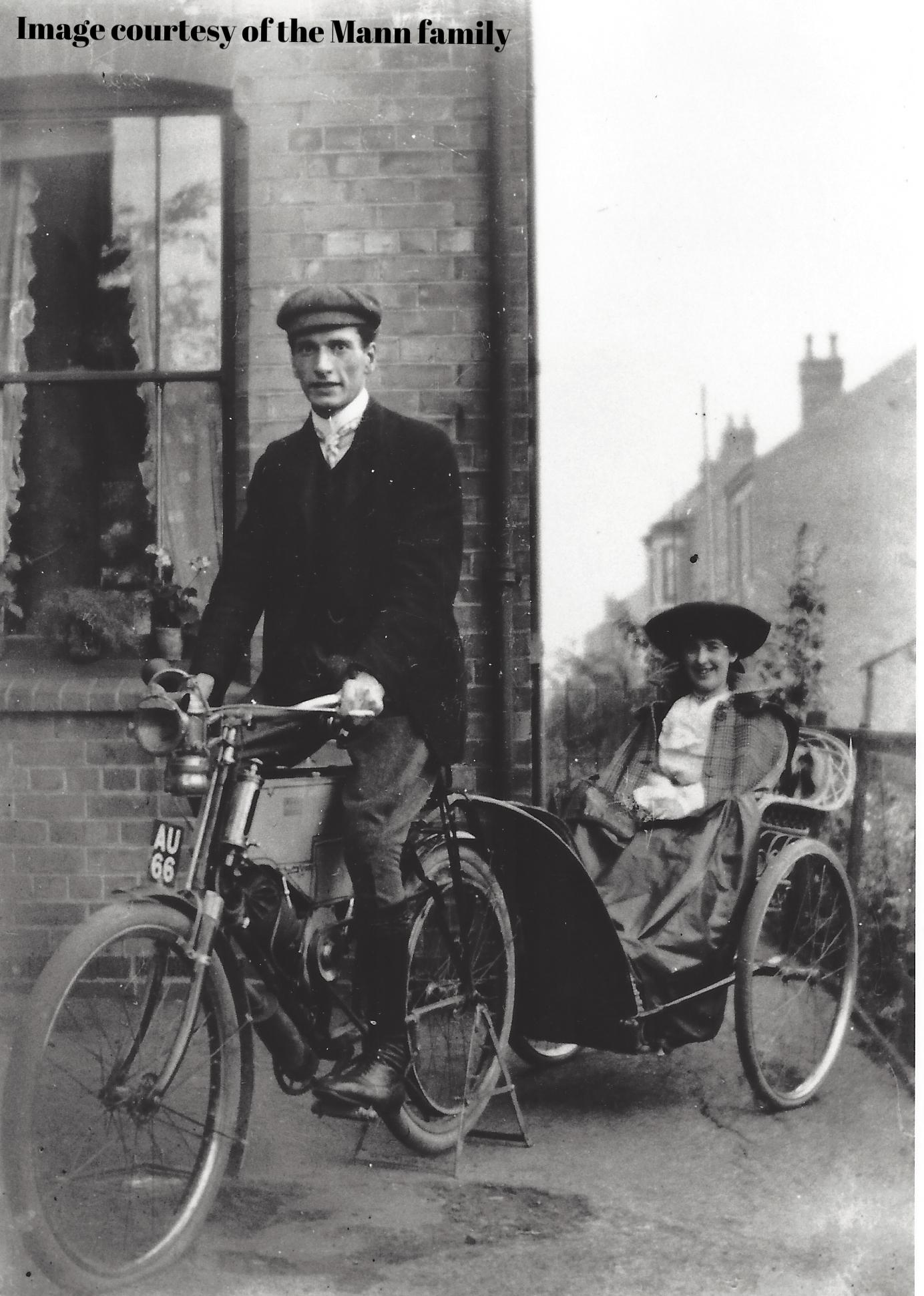 Alan and Mabel in motorised bike in Nottingham.jpg