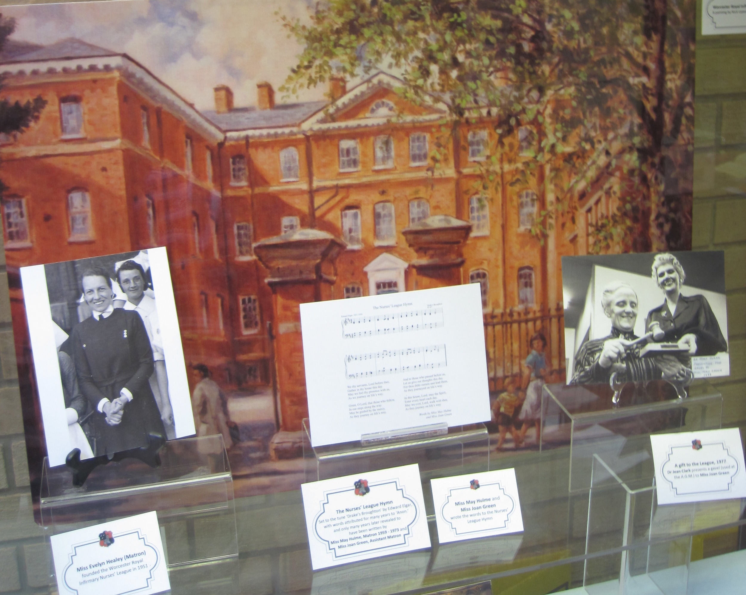 Worcester Royal Infirmary Nurses' League, until December 2018  Curated by two of our volunteers (one an Associate Member of the Worcester Royal Infirmary Nurses' League), we held a display about the League, including photographs of members, past and present, and information about the important fund-raising activities of its members.