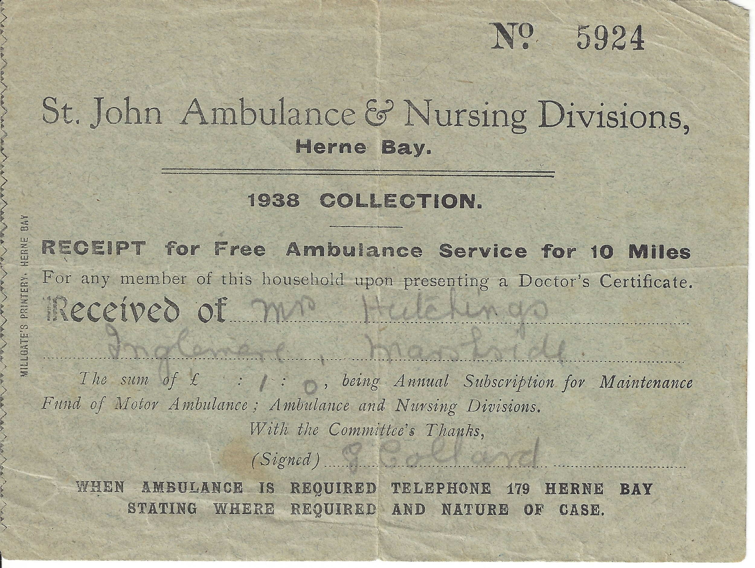 Receipt for Free Ambulance Service for 10 miles, 1938.