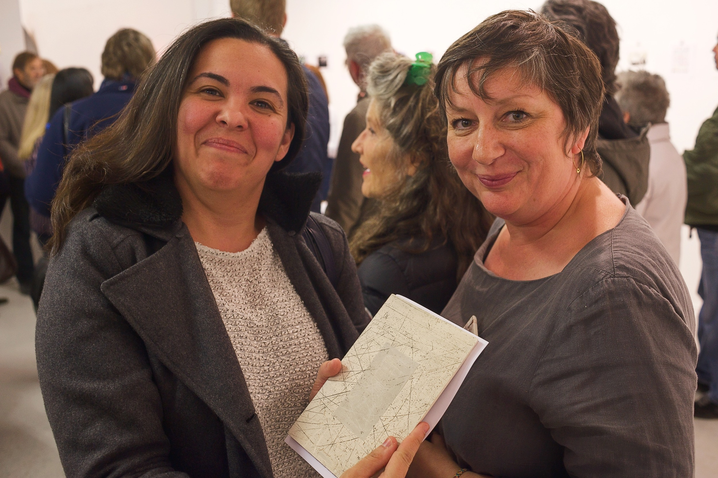 Karina happy with her purchase, with ceramicist Jane Cairns, thanks for your gift of work Jane. Images: Warren King