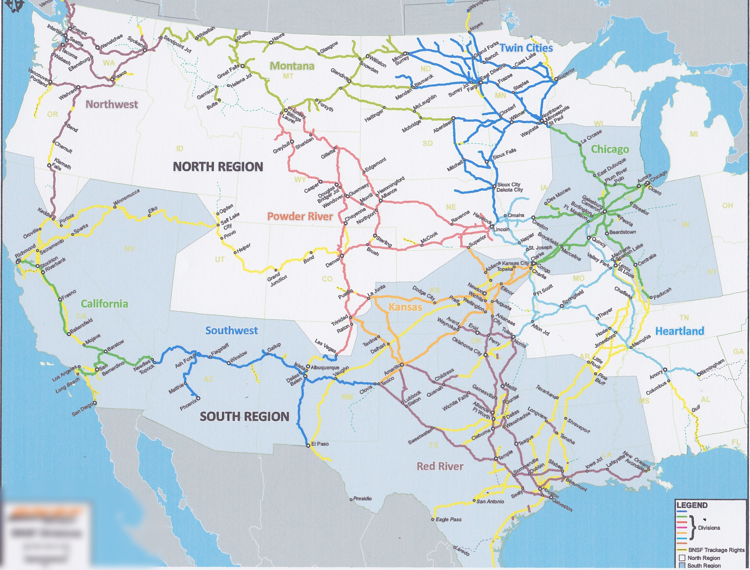 BNSF Region and Division Consolidation — SMART GENERAL