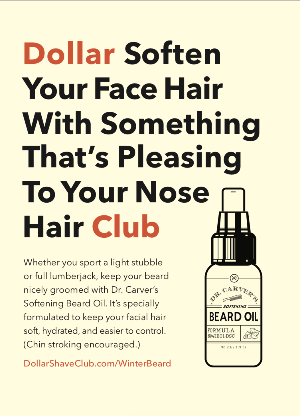 Mel Magazine print ad for DSC Beard Oil.