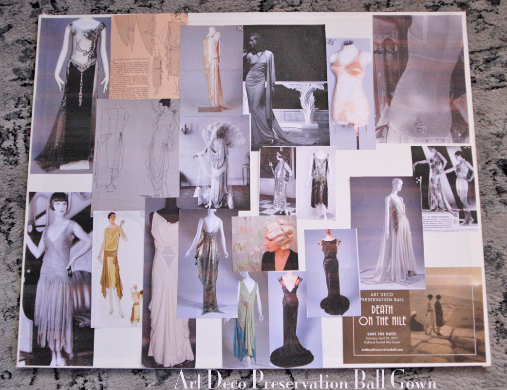 Art Deco Preservation Ball Gown Mood Board