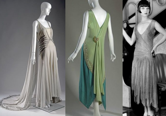 Dresses from the late 1920's that show the silhouette of the times (from my  Pinterest  board).