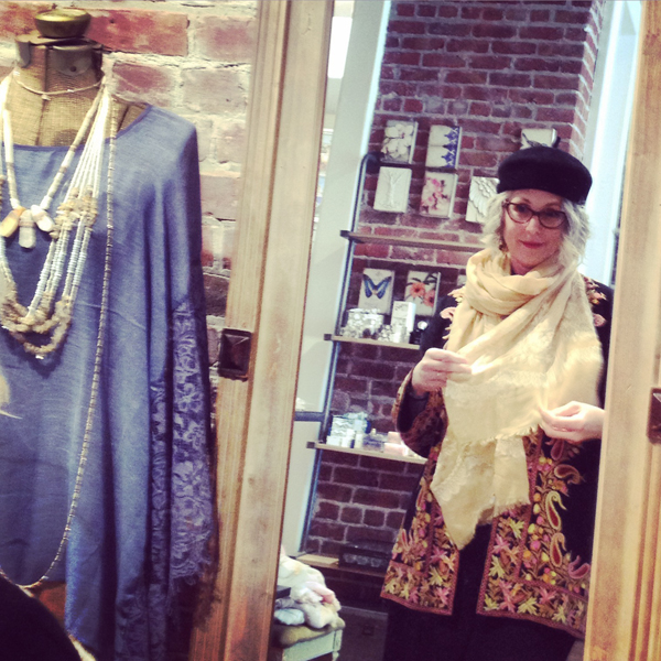 Here I am with my new (to me) vintage embroidered coat and hat, trying on a coordinating scarf.