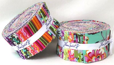 """This is What a Jelly Roll looks like - one roll of hundreds of 2 1/2"""" x WOF (Width of Fabric) strips."""